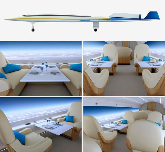 Jet Spike S-512. This new aircraft reduces flight time by half. Moreover, it has no windows - Un nuevo avión con vistas panorámicas y el doble de rápido. Reduce el tiempo de vuelo a la mitad