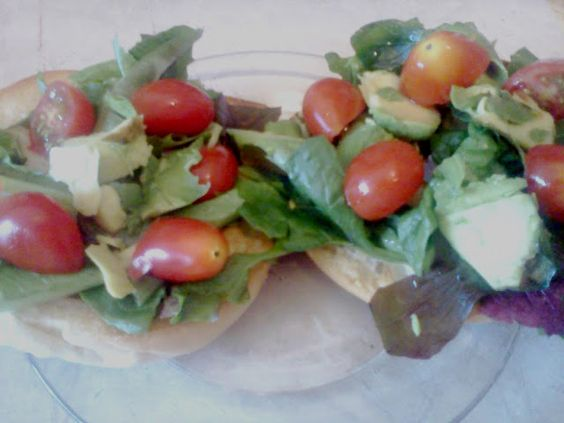 healthy lunch! toasted bagel, organic tomatoes, organic avocado, and greens from a friend's garden!  from my blog thevintagescene.com