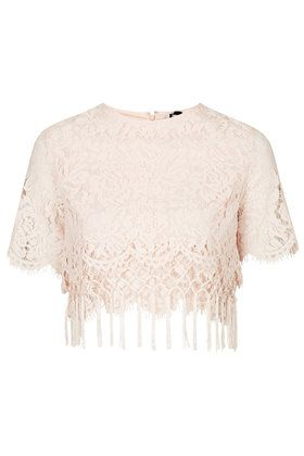 Topshop Lace Fringe Hem Crop Top