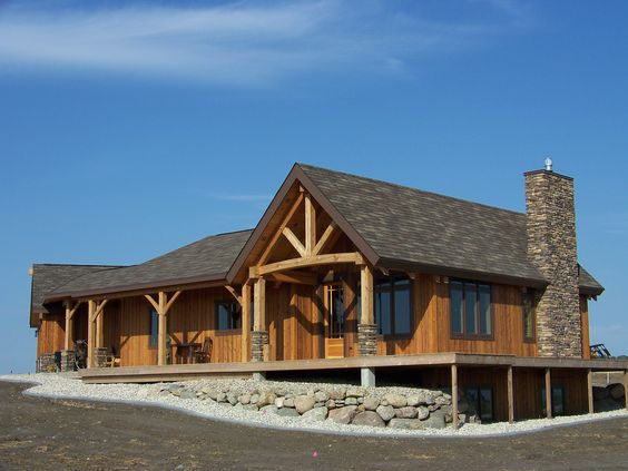 Rustic country homes wood and stone exterior columns for Rustic house plans with basement
