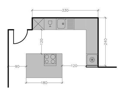 Plan De Cuisine Avec Ilot Central Les 6 Exemples A Suivre Cotemaison Fr Plansdemaisonenbois Kitchen Plans Bungalow Kitchen Kitchen Remodel Small