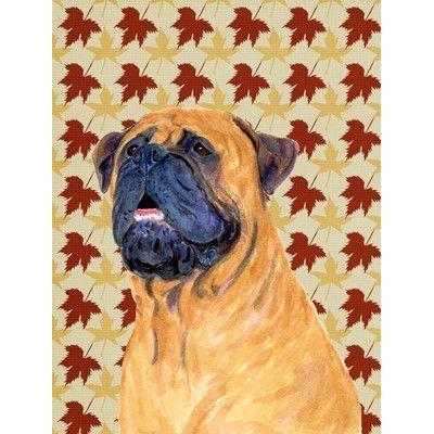 Caroline's Treasures Mastiff Fall Leaves Portrait 2-Sided Garden Flag