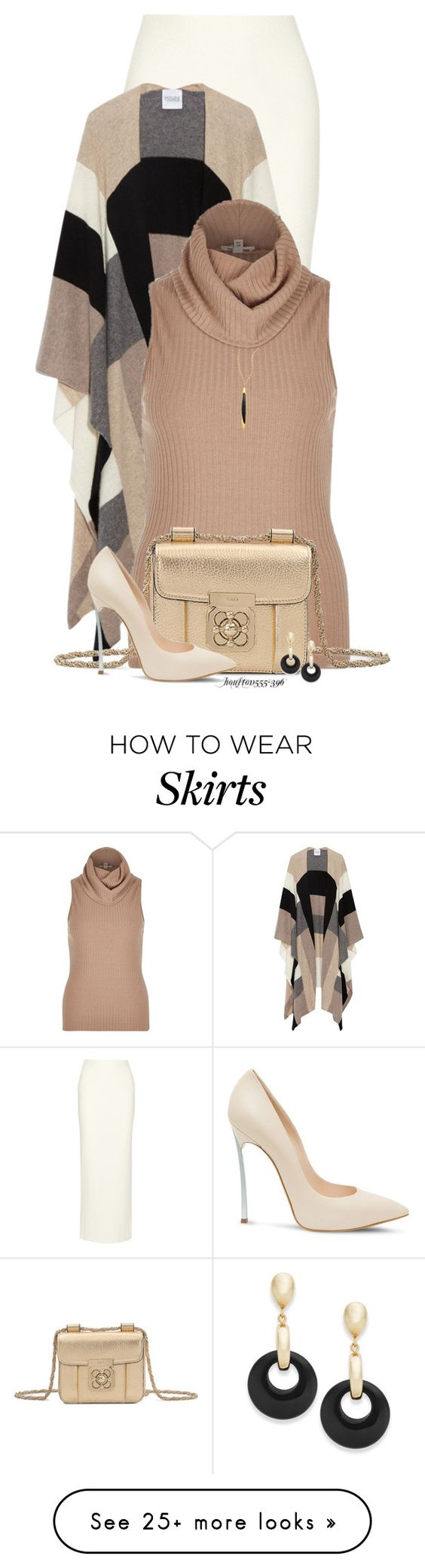 """Maxi Skirt for Fall"" by houston555-396 on Polyvore featuring Alice + Olivia, Madeleine Thompson, River Island, Chloé, Casadei, Lana and Signature Gold:"