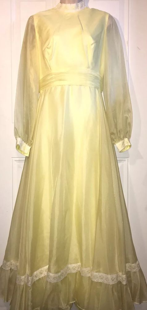 Sylvia Ann Vintage Dress Size 14 Yellow Long Long Sleeves