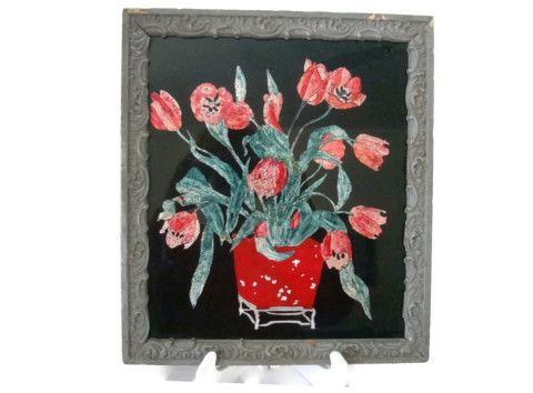 Folk art tinsel foil picture, red tulips in a cottage chic frame, circa 1940s