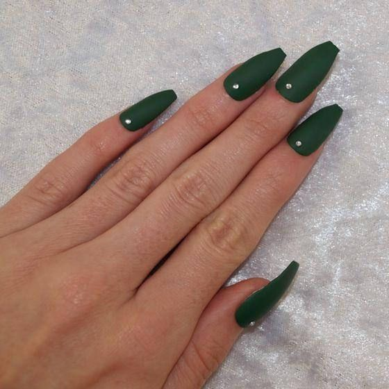Emerald Green Press On Nails Rhinestone Coffin Nails Emerald Nails Green Nails Green Acrylic Nails