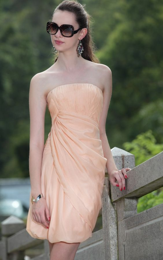 Peach Strapeless Pleats Prom/Ball/Cocktail/Party Dress @Merpher. L