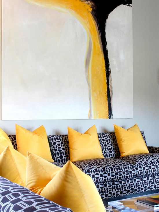 Tobi Fairley Bold Living Room Design With Striking Abstract Canvas Above Sofa Pale Gray Yellow Wall ArtYellow