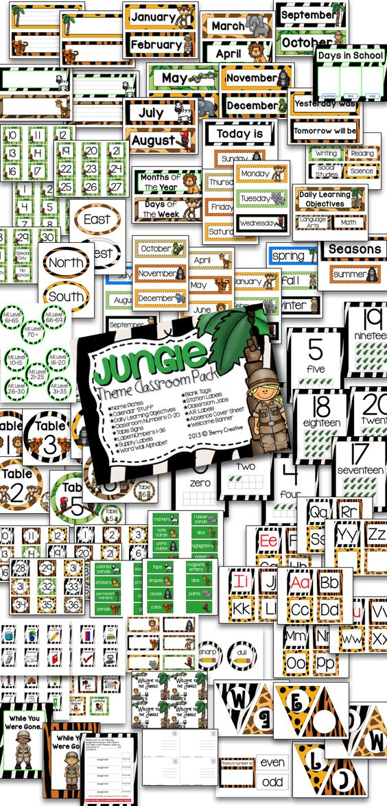 Jungle Theme Classroom Pack 90+ pages of jungle themed items for any classroom!