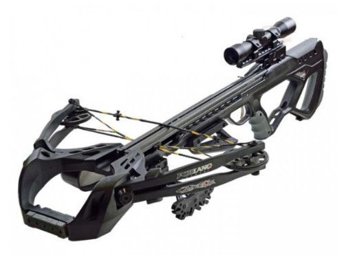Poelang Guillotine crossbow scope package from Poe Lang crossbows-The guillotine is the overwhelming, new top model crossbow with amazing features for the budget price of £329.99. With a compact and modern design as well as the performance, an 185 lbs draw weight and speeds up to 400 fps, the Guillotine is simply unbeatable in this price bracket.