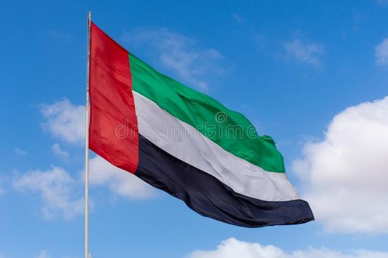 Uae Flag Blowing In The Wind On A Sunny Blue Sky And Puffy Cloud Day Sponsored Wind Sunny Blowing Uae Flag Ad Uae Flag Blue Sky Wind Sock