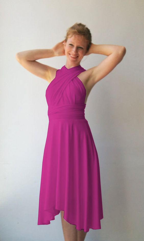 Tailored to Size & Length Bridesmaids dress in fuchsia  color with asymmetric hem cocktail-length dress Multiway Dress wrap dress