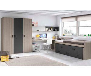 habitacion juvenil moderna con armario incluido