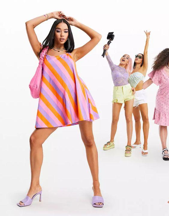 ASOS DESIGN tie shoulder halter jersey beach mini dress in bold stripe