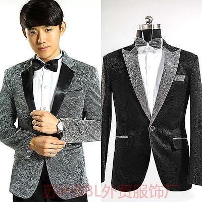 New-Mens-Dress-Bling-Sequins-Tuxedo-Suit-Host-Wedding-Jacket-Coat