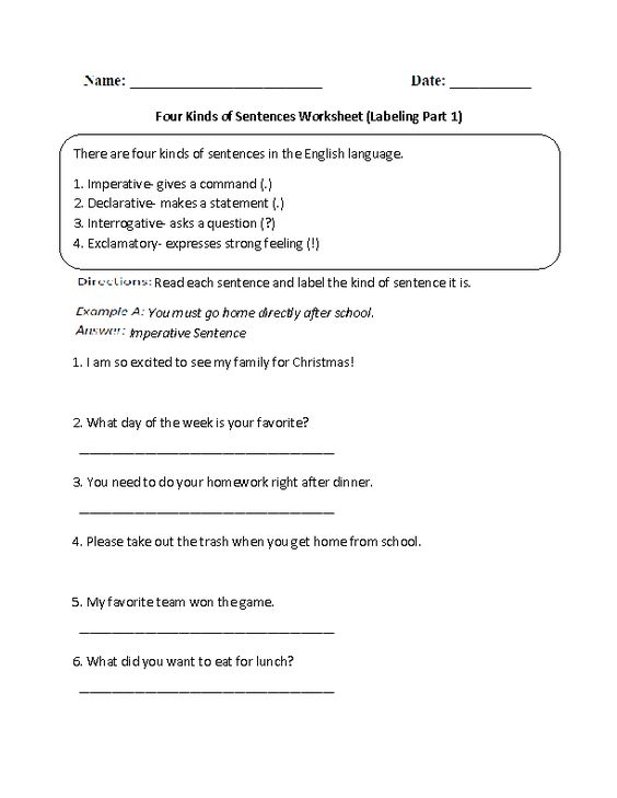 Worksheet Four Kinds Of Sentences Worksheet kinds of sentences and worksheets on pinterest labeling four worksheet