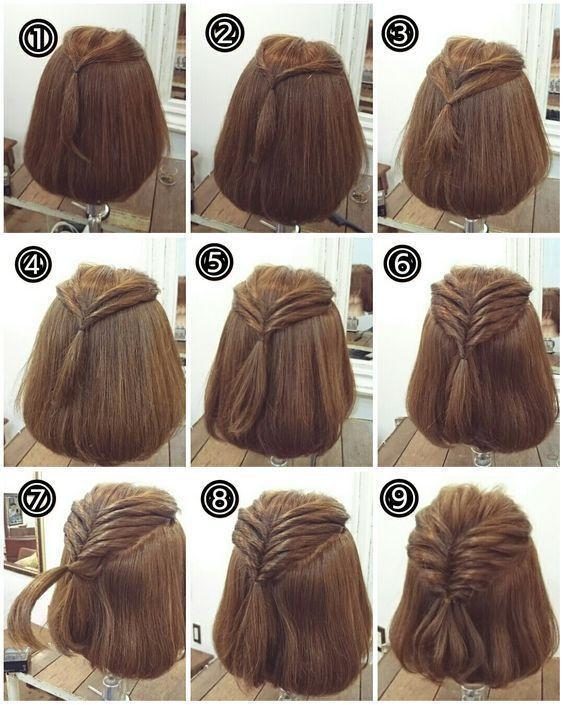 Eine Schlichte Frisur Fur Schulterlanges Haar Mit Dieser Anleitung Fur Einen Schulterlange Haare Frisuren Frisuren Kurze Haare Flechten Schulterlanges Haar