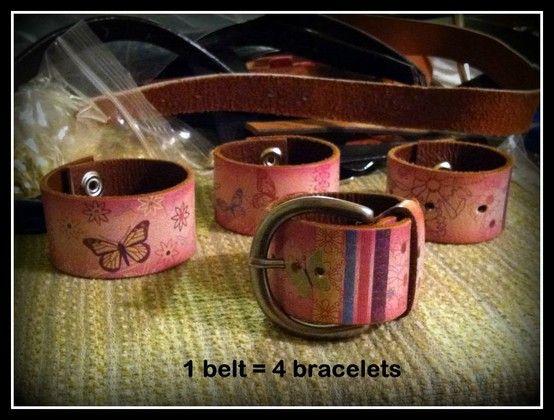 One thrift bracelet turned into four belt bracelets.  Recycling at its best!