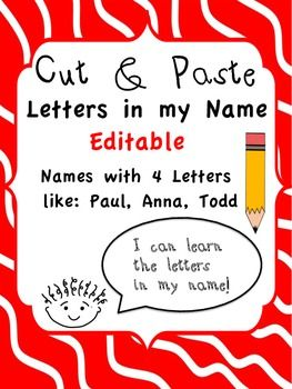 Freebie Name Activities Name Recognition Cut And
