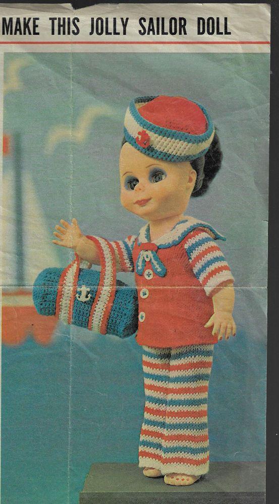 Sailor Vintage Knitting PATTERN 35 Toy Doll PATTERN Retro