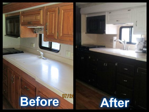 Holiday rambler rb motorhome kitchen renovation before and for Rambler kitchen remodel ideas