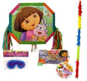 """Dora Drum the Explorer Pinata Kit-including Pinata, Filler, Buster Stick and Blindfold by Aztec Imports. $39.50. Blindfold comes in assorted colors, measures approx. 3.25"""" x 7"""" and is made of crepe paper and elastic band. 18"""" long Pinata Buster Stick is made of wood and is covered with strips of crepe paper in assorted colors. Pinata filler assorted flavors and candy. Includes (1) Dora Drum the Explorer Pinata (1) 1lb Dora explorer pinata filler (1) buster stick and (1) bl..."""