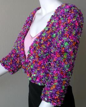 Ribbon Yarn Knitting Patterns : Free Knitting Pattern - Bolero Jacket knit with fringed RAVE ribbon yarn - fr...