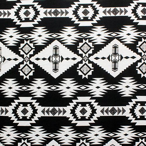 Black White Navajo Blanket Ponte de Roma Fabric - Soft ponte de roma knit  fabric in a black and white navajo blanket ethnic design. Fabric is a th