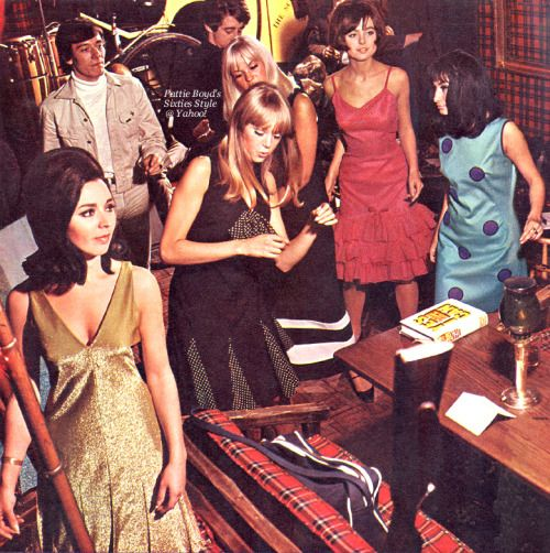truthaboutthebeatlesgirls:  Fashion feature from UK Woman's Own magazine, December 18, 1965 issue:  SWINGING PARTY-TIME FASHIONS (at London's Scotch of St. James Club)  It's here! The time for parties - smart, casual, simply elegant or even just plain fun. Think of the occasion and pick something sensational to wear. Like these glittering pop styles, after-six sophisticates, simple lines for home entertaining or pretty, casual styles for office parties. - Suzanne Grey  POP PARTY  From…