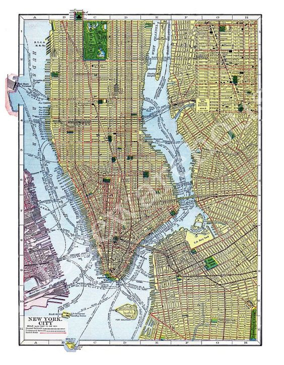 Vintage 1910 MAP of NEW YORK City NyC Street Map Colorful – Printable Map of Nyc Streets