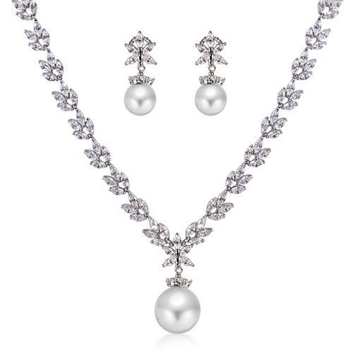 Bling Jewelry Bridal South Sea Shell Pearl CZ Marquise Leaf Necklace and Earrings Set