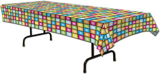 """70's disco plastic table cover - 54"""" x 108"""" Case of 12"""
