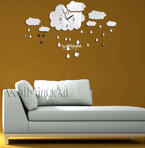 modern wall clock mirror rainy shatterproof butterfly for unique living room decor
