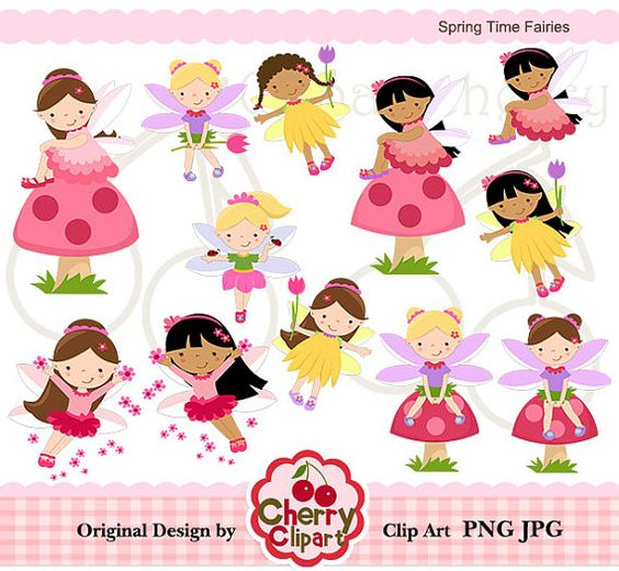 Spring Time Fairies digital clipart set for por Cherryclipart