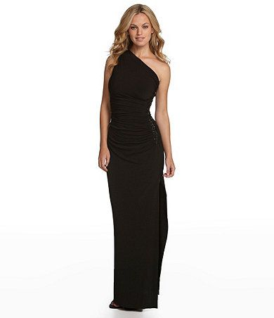 Adrianna Papell Short Sleeve Beaded Gown Formal Dresses Dillards