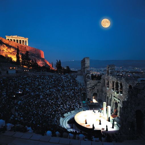 Herod Atticus Theatre on the slopes of the Acropolis under a full moon, Athens, Greece. Events range from classic Greek plays and classical music to rock performances.: