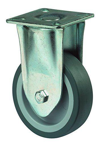 BS Rollen Apparate-Bockrolle f�r harte B�den, Anschraubplatte, Gummirad, 100 mm, blau / grau, A110.A80.100
