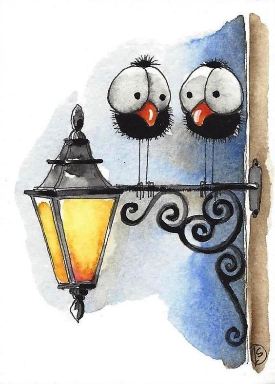 ACEO Original watercolor art painting whimsical bird crow night out street lamp #IllustrationArt: