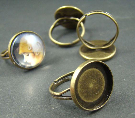 RI416 10pcs 16mm Brass Round Ring Base