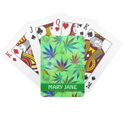 Personalized Playing Card Deck with Marijuana / Cannabis Leaves :)