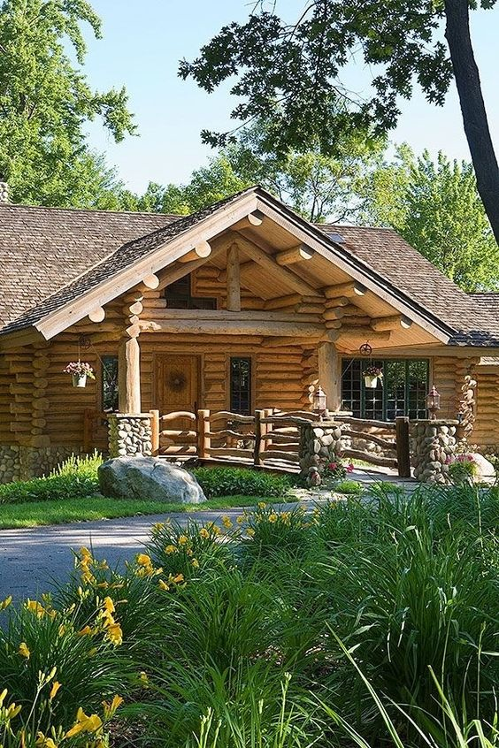 Log homes logs and rustic on pinterest for Cottage builders in michigan