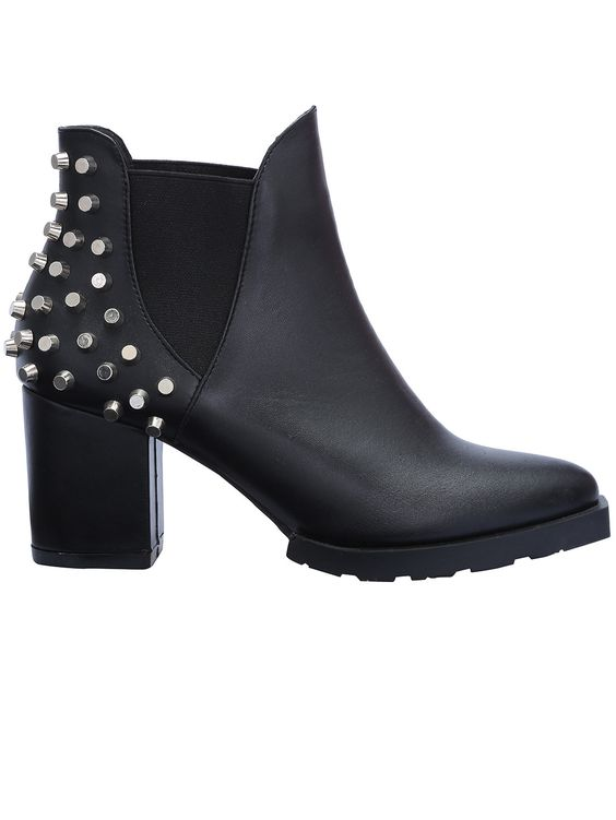Black+Studded+Elastic+High+Heeled+Boots+52.49