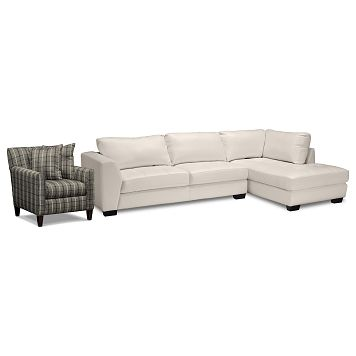 Ciera III Leather 2 Pc. Sectional (Reverse) and Accent Chair - Value City Furniture $1,099.98
