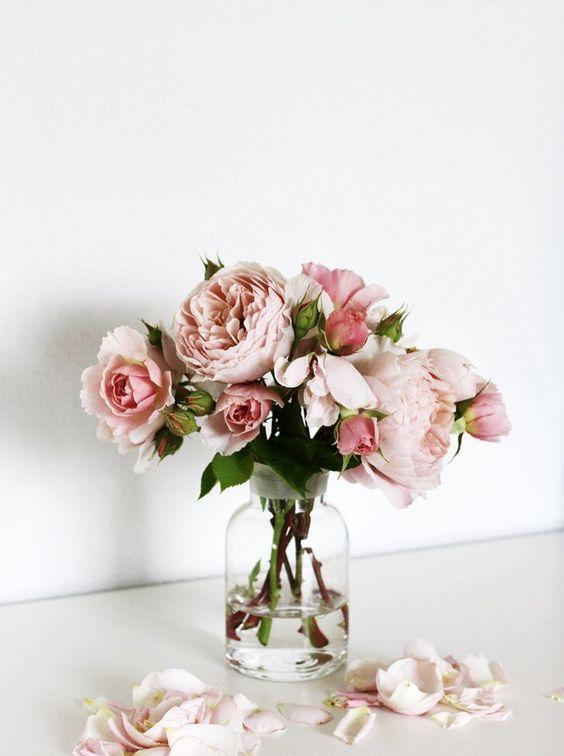 Light pink roses in glass vase