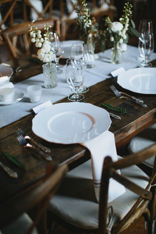 Simple Wedding Place Setting Idea Wooden Tables And White Plates