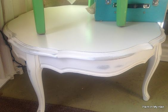 Paint in my hair: Custom white (Pure White w/ a bit o' Country Grey) coffee table with custom gray (French Linen w/ a bit o' Country Gray) below.