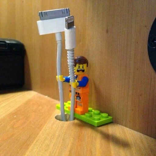 Excellent idea! Lego man cable holder: