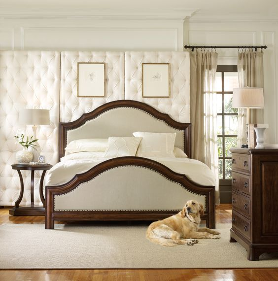 Hooker furniture, master bedroom, upholstered bed, wood bed, queen ...