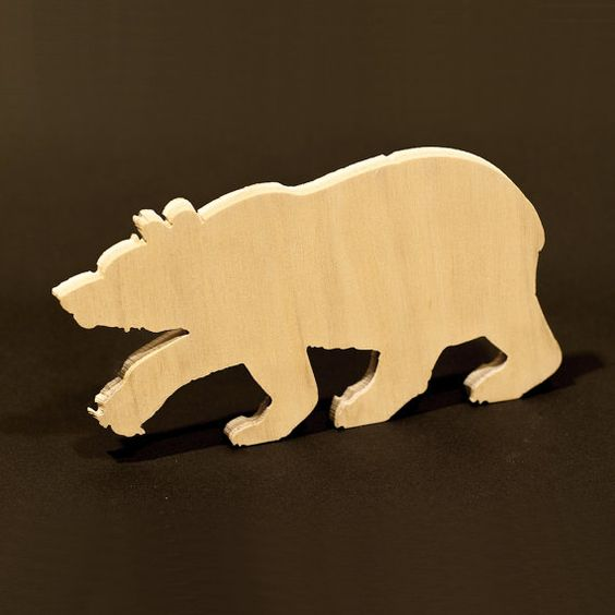 Wood Bear Recycled Cut Out for Decorating by flyingcheesetoastie, £5.00
