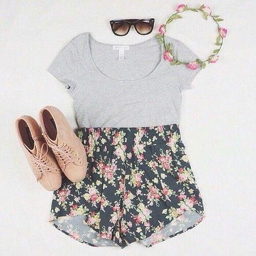 brown boots grey tight top high waiste flower shorts sunglasses flower headband - cute teen outfits tumblr: